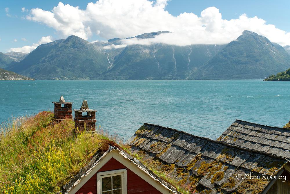 Old buildings in the Hardanger Folk Museum in Utne, Vestlandet, Norway, Europe