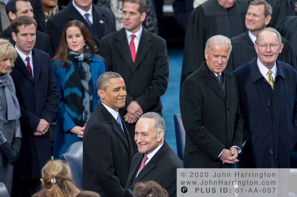 President Obama, Vice President Biden, Sen. Charles Schummer and Sen. Lamar Alexander at the 57th Presidential Inauguration of President Barack Obama at the U.S. Capitol Building in Washington, DC January 21, 2013.