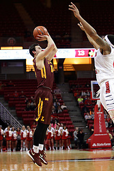06 January 2016: Ben Richardson(14) shoots a long jumpsuit during the Illinois State Redbirds v Loyola-Chicago Ramblers at Redbird Arena in Normal Illinois (Photo by Alan Look)