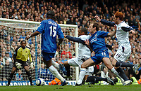 Photo: Ed Godden.<br />Chelsea v West Ham United. The Barclays Premiership. 09/04/2006. Didier Drogba and Arjen Robben (Chelsea) advance into the West Ham area.