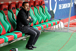 """28.01.2012, SGL Arena, Augsburg, GER, 1. FBL, FC Augsburg vs 1. FC Kaiserslautern, 19. Spieltag, im Bild Trainer Jos LUHUKAY (FC Augsburg) nachdenklich // during the football match of the german """"Bundesliga"""", 19th round, between FC Augsburg and 1. FC Kaiserslautern, at the SGL Arena, Augsburg, Germany on 2012/01/28. EXPA Pictures © 2012, PhotoCredit: EXPA/ Eibner/ Peter Fastl..***** ATTENTION - OUT OF GER *****"""