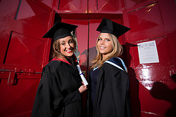Repro Free: 22 November 2013<br /> Stephanie Wheelan from Greystones Co Wicklow (LLB Honours in Irish Law) and Simona Zudyte from Crumlin (BA Honours in Journalism) pictured at the Independent College Dublin Conferring Ceramony 2013 in St Ann's Church Dawson Street. Picture Andres Poveda