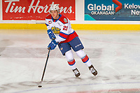KELOWNA, BC - NOVEMBER 26: Jake Neighbours #21 of the Edmonton Oil Kings warms up with the puck at the Kelowna Rockets at Prospera Place on November 26, 2019 in Kelowna, Canada. (Photo by Marissa Baecker/Shoot the Breeze)
