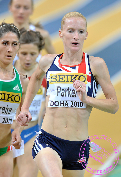 BARBARA PARKER (GREAT BRITAIN) COMPETES IN WOMEN'S 3000 METERS QUALIFICATION DURING DAY 1 THE 13TH IAAF WORLD INDOOR CHAMPIONSHIPS IN ATHLETICS DOHA 2010 AT ASPIRE DOME...DOHA , QATAR , MARCH 12, 2010..( PHOTO BY ADAM NURKIEWICZ / MEDIASPORT )..PICTURE ALSO AVAIBLE IN RAW OR TIFF FORMAT ON SPECIAL REQUEST.