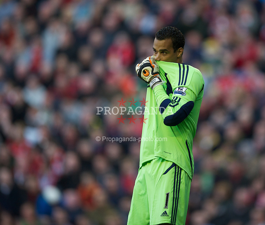LIVERPOOL, ENGLAND - Saturday, November 5, 2011: Swansea City's goalkeeper Michael Vorm during the Premiership match against Liverpool at Anfield. (Pic by David Rawcliffe/Propaganda)