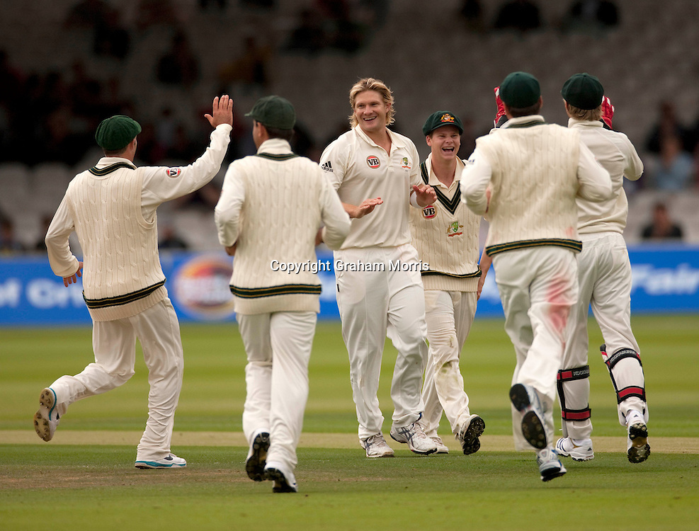 Salman Butt is bowled by Shane Watson (centre) during the MCC Spirit of Cricket Test Match between Pakistan and Australia at Lord's.  Photo: Graham Morris (Tel: +44(0)20 8969 4192 Email: sales@cricketpix.com) 14/07/10