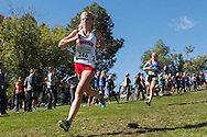 Boise High sophomore Eve Jensen competes in the girls elite race during the Bob Firman Invitational, September 24, 2016 at Eagle Island State Park, Eagle, Idaho. Jensen  finished fifth with a time of 18:03.0.