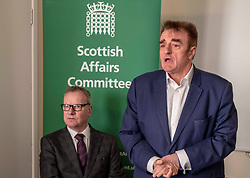 Pictured: Pete +Wishart and Tommy Shephard<br /> Today at the Crew 2000 offices in Edinburgh, the chair of the Scottish Affairs Committee Pete Wishart MP launched an inquiry into drug misuse in Scotland.  He was joined by members of his committee, Tommy Shephard (SNP), Danielle Rowley MP (Labour) and Christine Jardine (Lib Dem)<br /> <br /> <br /> Ger Harley | EEm 4 March 2019