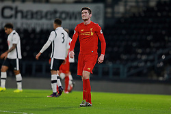 DERBY, ENGLAND - Monday, November 28, 2016: Liverpool's Corey Whelan looks dejected after missing a chance against Derby County during the FA Premier League 2 Under-23 match at Pride Park. (Pic by David Rawcliffe/Propaganda)
