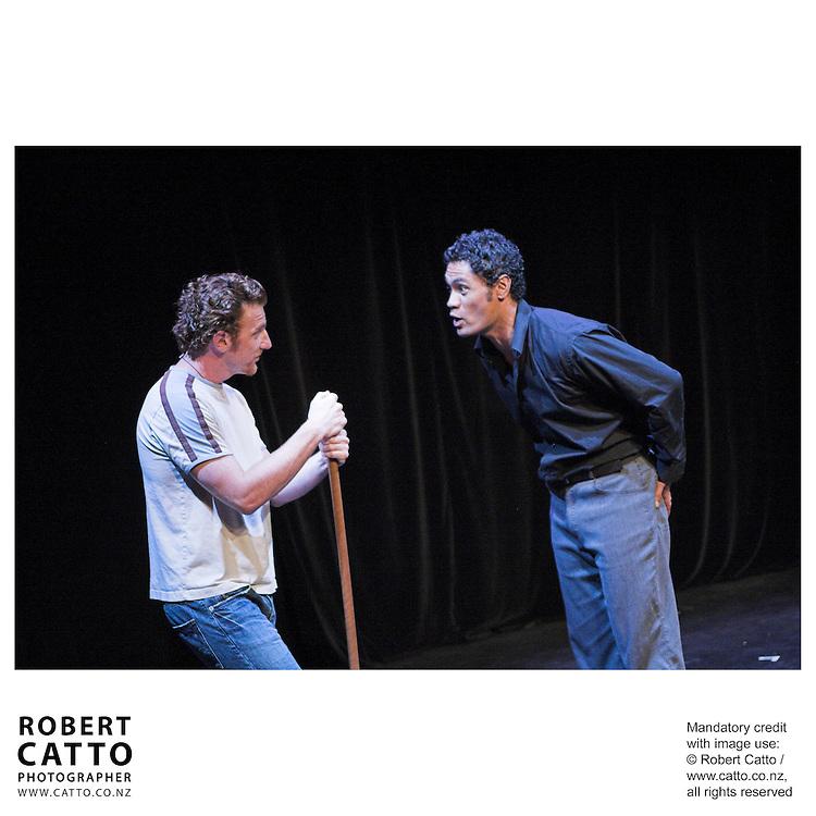 Wesley Dowdell;Joe Folau in Whero's New Net, a play at the New Zealand International Arts Festival Show & Tell at the Capital E, Wellington, New Zealand.<br />