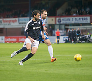 Dundee&rsquo;s Arturo and Kilmarnock&rsquo;s Conrad Balatoni race for the ball  - Dundee v Kilmarnock, Ladbrokes Scottish Premiership at Dens Park<br /> <br />  - &copy; David Young - www.davidyoungphoto.co.uk - email: davidyoungphoto@gmail.com