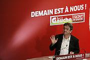 Jean-Luc Mélenchon durant l'université d'été du Parti de Gauche.
