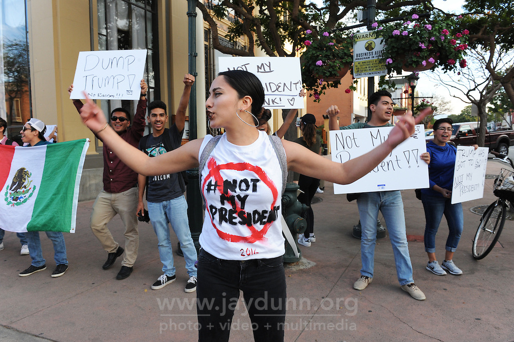 Amy Romo Rodriguez leads a protest on Thursday in Salinas against Donald Trump's election.