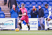 Hartlepool player Rhys Oates looks to cross the ball in during the second half  during the EFL Sky Bet League 2 match between Colchester United and Hartlepool United at the Weston Homes Community Stadium, Colchester, England on 25 February 2017. Photo by Ian  Muir.