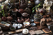 Ceramic teapots and tea ceremony cups on display in Chengdu, Sichuan, China