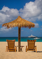 Anguilla - January 5, 2015: The beach chairs at the Frangipani Beach Resort at Meads Bay are perfect for lounging in the afternoon. Visitors who come in the off season shouldn't be surprised to find that they have the beach to themselves. CREDIT: Chris Carmichael for The New York Times