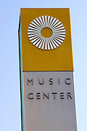 Dorothy Chandler Pavillion music hall sign in downtown Los Angeles, California