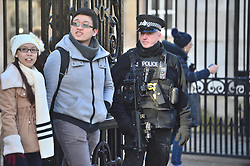 © Licensed to London News Pictures. 31/12/2015. London, UK. Armed police in Westminster, central London toady (Thurs) as security in the capital is heightened ahead of New Year celebrations this evening.  Photo credit: Ben Cawthra/LNP