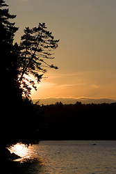 Sunset over Lily Bay.  Lily Bay State Park, Moosehead Lake, Maine.  Northern Forest.
