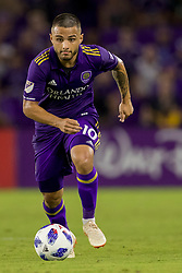 August 4, 2018 - Orlando, FL, U.S. - ORLANDO, FL - AUGUST 04: Orlando City midfielder Josue Colman (10) controls the ball during the soccer match between the Orlando City Lions and the New England Revolution on August 4, 2018 at Orlando City Stadium in Orlando FL. (Photo by Joe Petro/Icon Sportswire) (Credit Image: © Joe Petro/Icon SMI via ZUMA Press)