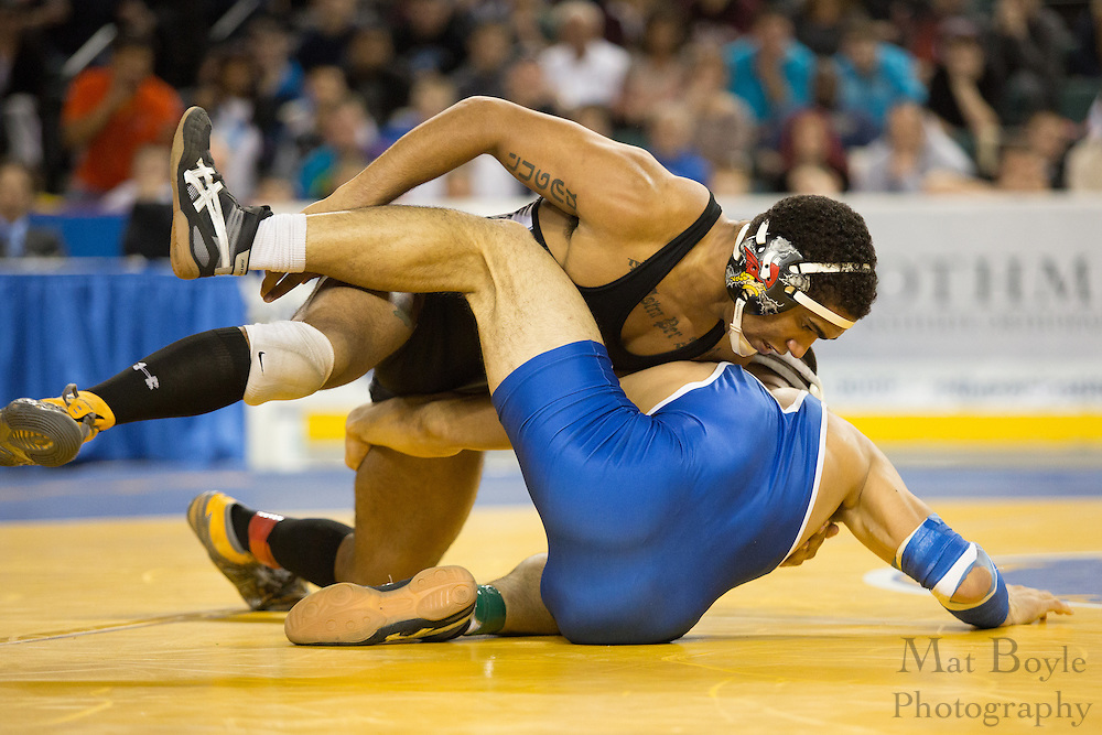 Jadaen Bernstein of Voorhees is defeated by  Ethan Ramos of Hawthorne during the 170 lb NJ individual state wrestling final held at Boardwalk Hall in Atlantic City on Sunday March 9, 2013. (photo / Mat Boyle)