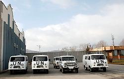 PRISTINA, KOSOVO - DECEMBER 14 - UNMIK enote na letaliscu v Pristini.