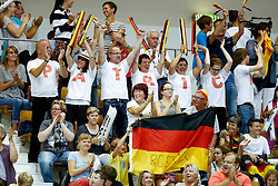 Supporters of Partick Hausding of Germany celebrate in the crowd as he wins the Mens 3m Springboard Final - Photo mandatory by-line: Rogan Thomson/JMP - 07966 386802 - 21/08/2014 - SPORT - DIVING - Berlin, Germany - SSE im Europa-Sportpark - 32nd LEN European Swimming Championships 2014 - Day 9.