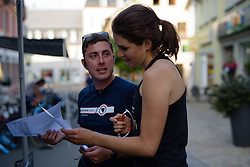 Joëlle Numainville checks the starting order at Thüringen Rundfarht 2016 - Stage 4 a 19km time trial starting and finishing in Zeulenroda Triebes, Germany on 18th July 2016.