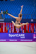 Tikkanen Jouki during qualifying at clubs in Pesaro World Cup 14 April 2018. Jouki was born 5 July, 1995. She is a Finnish individual rhythmic gymnast.