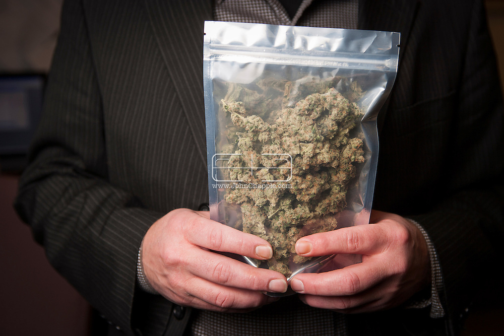 December 7, 2012. Seattle, Washington. Washington and Colorado became the first states to vote to decriminalize and regulate the possession of an ounce or less of marijuana by adults over 21. Pictured is 1oz of marijuana, in Seattle..Photo © John Chapple / www.JohnChapple.com