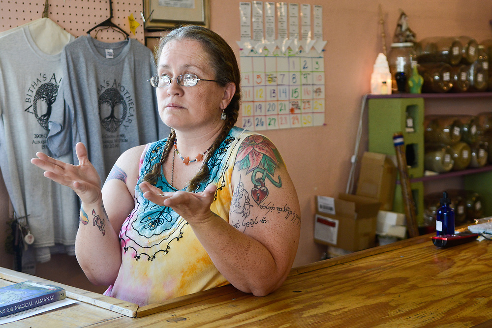 mkb062217b/metro/Marla Brose --  Reta Bray is disappointed that the Nob Hill Summerfest will not include her shop Abitha's Apothecary at 3906 Central Ave. SE. The city is providing the store with a booth because the business is usually included in  Summerfest. (Marla Brose/Albuquerque Journal)