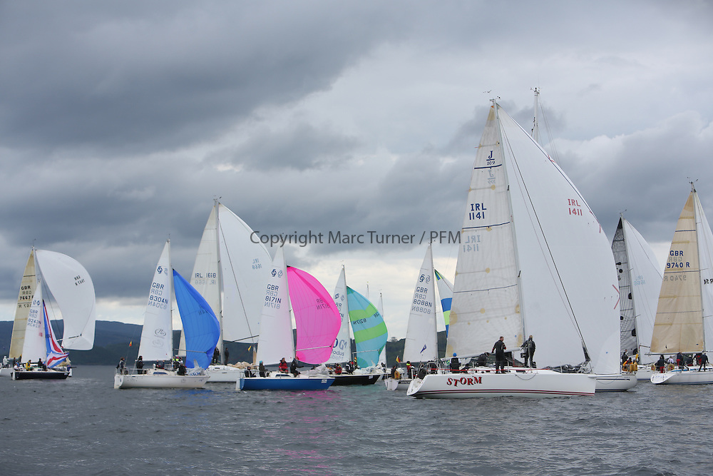 The Silvers Marine Scottish Series 2014, organised by the  Clyde Cruising Club,  celebrates it's 40th anniversary.<br /> Day 3, Fleet, Trumble Too, IRL1141,Storm, Pat Kelly, Howth YC / Rush SC, J109<br /> Racing on Loch Fyne from 23rd-26th May 2014<br /> <br /> Credit : Marc Turner / PFM