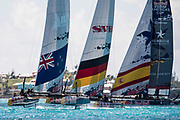 The Great Sound, Bermuda, 21st June 2017, Red Bull Youth America's Cup Finals. Start of race five. NZL Sailing Team, SVB Team Germany and Spanish Impulse by Iberostar.