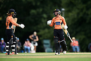 Danielle Wyatt of Southern Vipers celebrates reaching his century during the Women's Cricket Super League match between Southern Vipers and Surrey Stars at Arundel Castle, Arundel, United Kingdom on 18 August 2019.