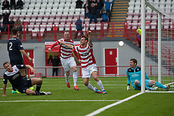 Hamilton's Anthony Andreu cele scoring their goal.<br /> Half time : Hamilton 1 v 0 Falkirk, Scottish Championship played today at New Douglas Park.<br /> &copy;Michael Schofield.