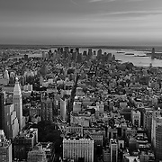 New York skyline looking downtown from the Empire State Building.