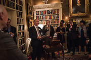 the duke of buccleuch; CRAWFORD LOGAN AS SIR WALTER SCOTT; BARONESS FLOELLA BENJAMIN,, , The Walter Scott Prize for Historical Fiction 2015 - The Duke of Buccleuch hosts party to for the shortlist announcement. <br /> The winner is announced at the Borders Book Festival in Scotland in June.John Murray's Historic Rooms, 50 Albemarle Street, London, 24 March 2015.