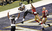 Baltimore Ravens receiver Anquan Boldin catches a touchdown pass against the San Francisco 49ers during the first quarter of Super Bowl XLVII at the Mercedes-Benz Superdome on February 3, 2013 in New Orleans.  UPI/David Tulis