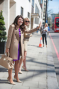 MISS SARAH MACKIE; BECKY QUINTAVALLE, Leaving The Seventh Annual Foreign Sisters Lunch in aid of Cancer Research UK. . The Dorchester 53 Park Lane. London. 1 May 2013.