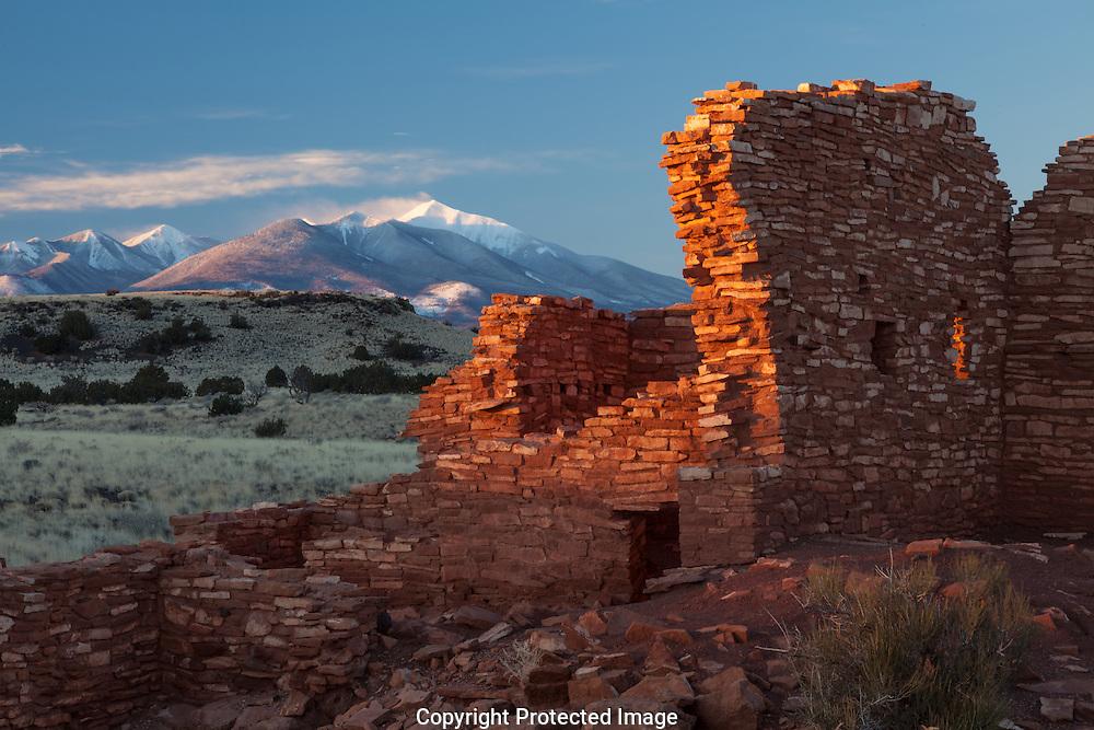Lomatki Ruin, winter sunrise, snow, Wupatki National Monument, San Francisco Peaks, AZ