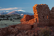 Lomatki Ruin, winter sunrise, snow, Wupatki National Monument, San Francisco Peaks, AZ