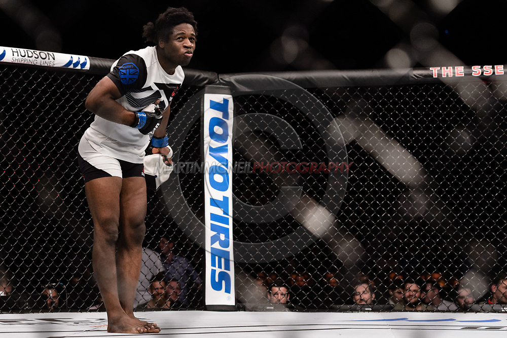"""GLASGOW, UNITED KINGDOM, JULY 16, 2017: Galore Bofando is declared winner of his fight over Charlie Ward (not pictured) during """"UFC Fight Night Glasgow: Nelson vs. Ponzinibbio"""" inside the SSE Hydro Arena in Glasgow, Scotland on Sunday, July 16, 2017."""