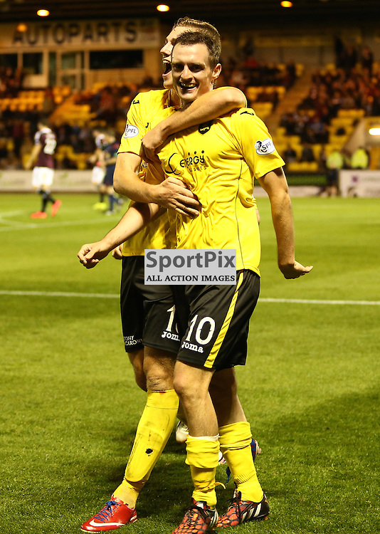 David Robertson celebrates with Jordan White after scoring the fourth goal  during the Livingston FC V Heart of Midlothian FC Petrofac Training Cup 20th August 2014 ©Edward Linton | SportPix.org.uk