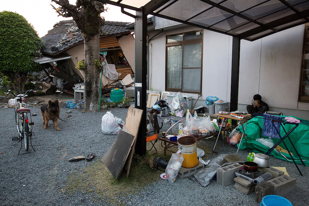 KUMAMOTO, JAPAN - APRIL 19: Some residents prefer to stay in front of their homes on April 19, 2016 in Mashiki town, Kumamoto, Japan.  The magnitude 7.3 earthquake hit Kyushu, just after the earthquake killed 9, at least 26 new fatalities by this earthquake, total death toll from the series of earthquake rises to 42.<br /> <br /> Photo: Richard Atrero de Guzman