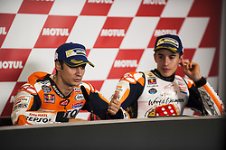 November 12, 2017 - Valencia, Valencia, Spain - 26 Dani Pedrosa (Spanish) Repsol Honda Team Honda #93 Marc Marquez (Spanish) Repsol Honda Team Honda during the press conference after the Gran Premio Motul de la Comunitat Valenciana, Circuit of Ricardo Tormo,Valencia, Spain. Saturday 12th of november 2017. (Credit Image: © Jose Breton/NurPhoto via ZUMA Press)