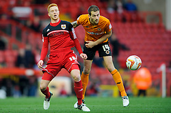Bristol City Forward Ryan Taylor (ENG) and Wolves Defender Roger Johnson (ENG) compete for the ball during the first half of the match - Photo mandatory by-line: Rogan Thomson/JMP - Tel: Mobile: 07966 386802 01/12/2012 - SPORT - FOOTBALL - Ashton Gate - Bristol. Bristol City v Wolverhampton Wanderers - npower Championship.