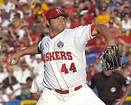 Nebraska's Joba Chamberlain, pitched seven innings to get the win for the Huskers.  Nebraska defeated Arizona State in the first round of the College World Series 5-3 at Rosenblatt Stadium in Omaha, Nebraska on June 17, 2005.