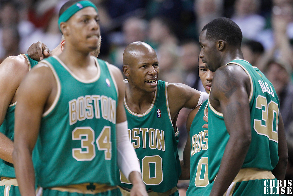 09 March 2012: Boston Celtics shooting guard Ray Allen (20) talks to his teammates during the Boston Celtics 104-86 victory over the Portland Trail Blazers at the TD Banknorth Garden, Boston, Massachusetts, USA.