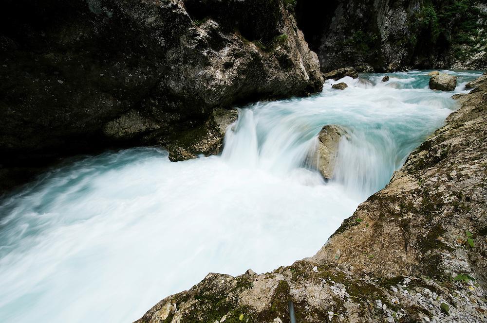 Tolminka canyon (Tolminska korita), river Tolminka, cascades<br /> Triglav National Park, Slovenia<br /> June 2009