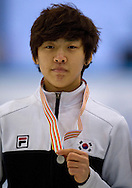 Lee Hyo Been of South Korea with silver medal in the Men's 1500 Meters on day one of the 2013 ISU Short Track Speed Skating Junior World Championships at Torwar Ice Hall on February 22, 2013 in Warsaw, Poland...Poland, Warsaw, February 22, 2013...Picture also available in RAW (NEF) or TIFF format on special request...For editorial use only. Any commercial or promotional use requires permission...Photo by © Adam Nurkiewicz / Mediasport